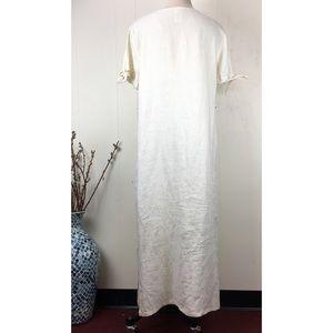 Vintage Dresses - Vintage 90s Studio Ease Linen Embroidered Dress